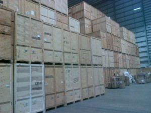 wooden storage in hatfield: containers in a warehouse